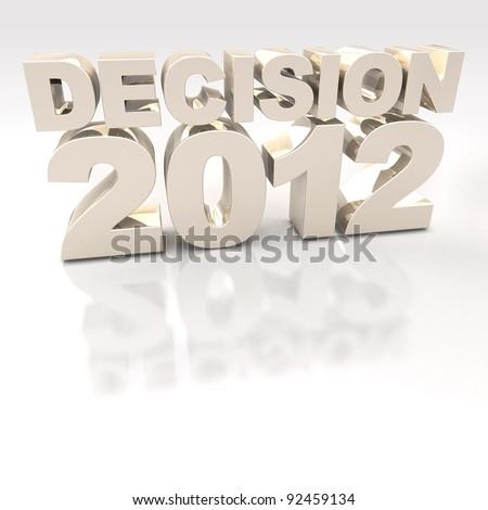 Gold Decision 2012 3D logo on reflective white background - stock photo