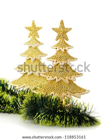 gold decorated Christmas trees and holiday object. Isolated on white - stock photo