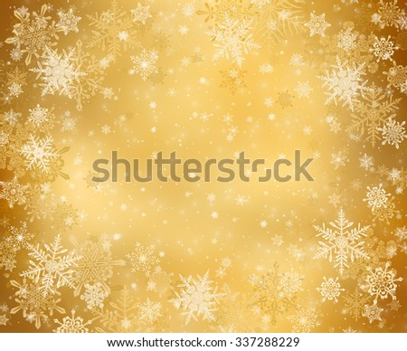 Gold decorative christmas background with snowflakes - stock photo