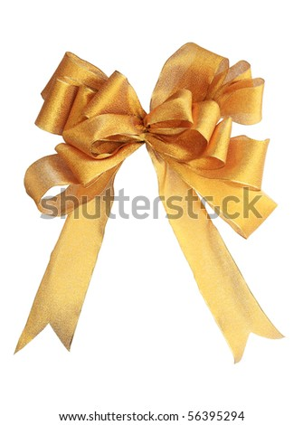 gold decorative fabric bow isolated on white