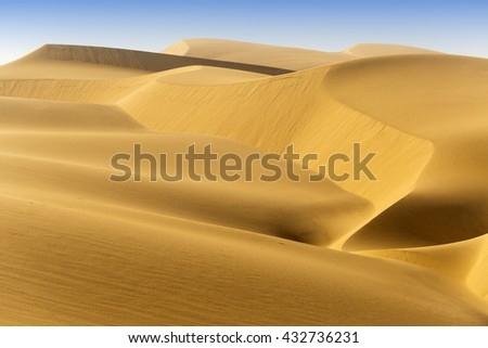 Gold desert in sunset. Annual growth of the area of sand. Global warming on the planet.  - stock photo