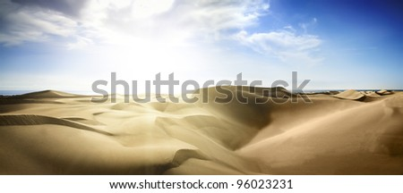 Gold desert into the sunset. Canary Islands, Canaries. Grand Canary. - stock photo