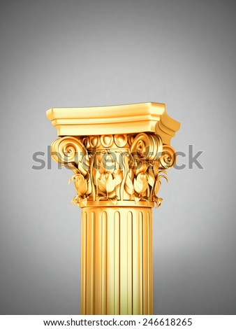 Gold Detailed Corinthian Column Pedestal - stock photo