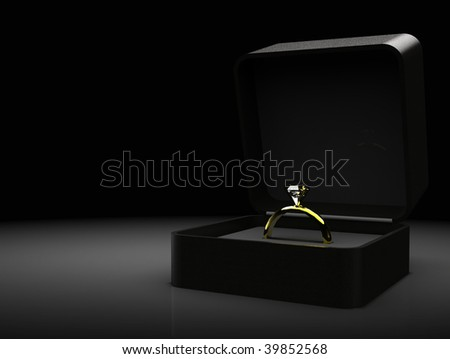 Gold diamond engagement / wedding ring seated in velvet box with copyspace
