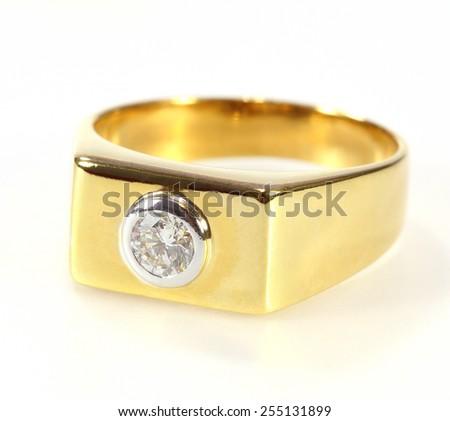 gold diamond ring isolated on white background - stock photo