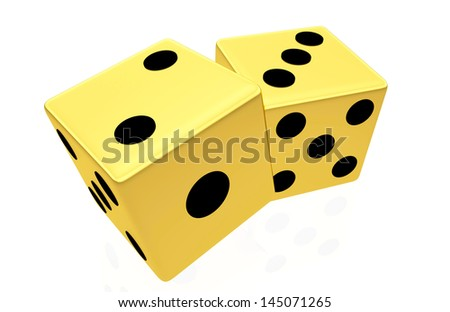 Gold dice isolated on white background