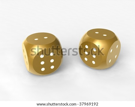 gold dices - stock photo