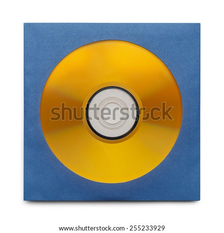 Gold Disc in Blue Case Isolation a White Background. - stock photo