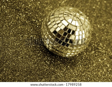 gold disco ball - stock photo