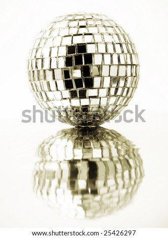 gold disco ball with reflection - stock photo