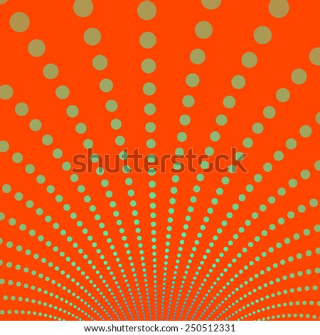 Gold Discs on Deep Orange Background / A digital abstract fractal image with a fountain of gold discs on a deep orange background. - stock photo