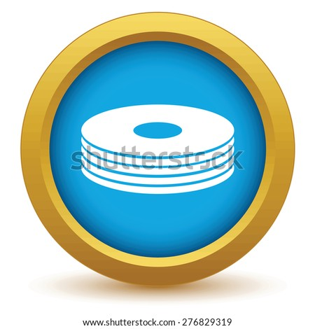 Gold disk icon on a white background - stock photo