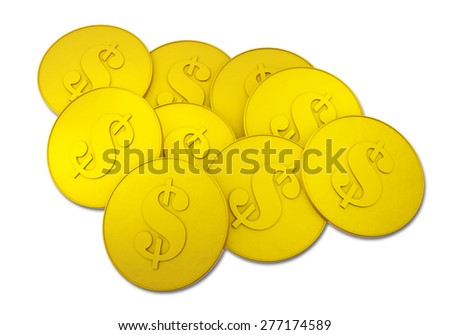 Gold dollar coin on white background. - stock photo
