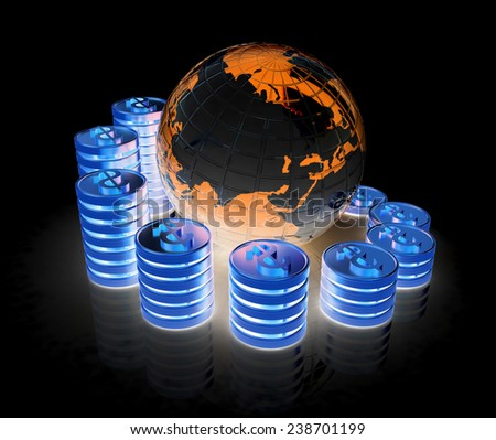 Gold dollar coin stack around the Earth isolated on black - stock photo