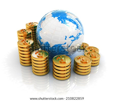 Gold dollar coin stack around the Earth isolated on white  - stock photo