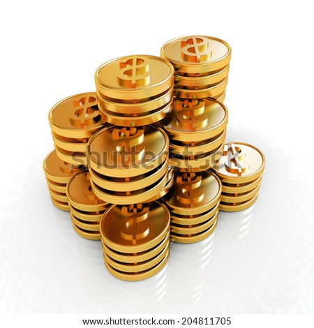 Gold dollar coin stack isolated on white
