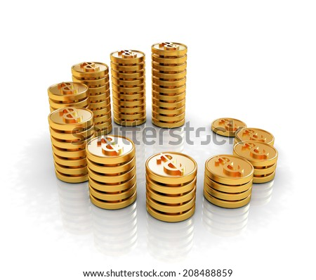 Gold dollar coin stack isolated on white  - stock photo