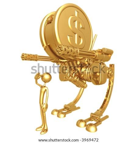 Gold Dollar Coin War Machine - stock photo