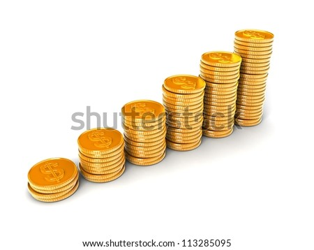 Gold dollar coins - stock photo