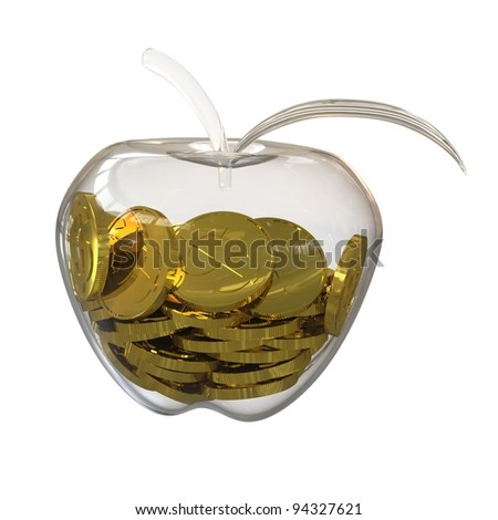 Gold dollar coins inside a glass of apple. 3D rendering - stock photo