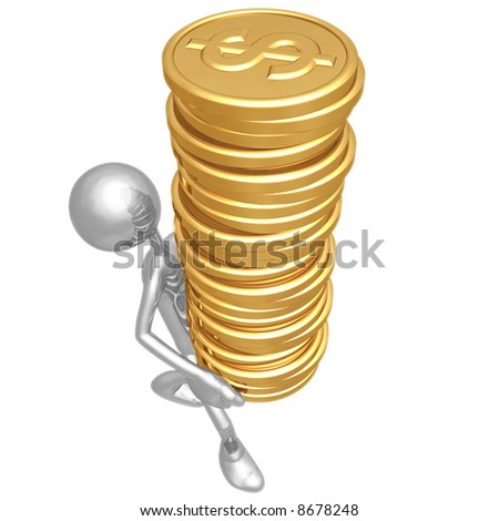 Gold Dollar Coins Tower - stock photo