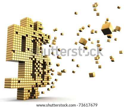 Gold dollar currency symbol dissolve financial and economic concept - stock photo