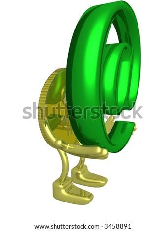 Gold dollar holding symbol. 3D image. - stock photo