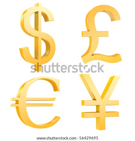 gold dollar,pound,euro,yuan signs isolated on a white background.3d render.also with clipping paths. - stock photo