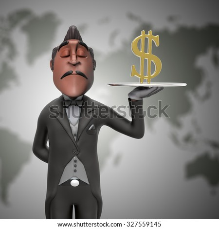 Gold Dollar served by a butler illustration