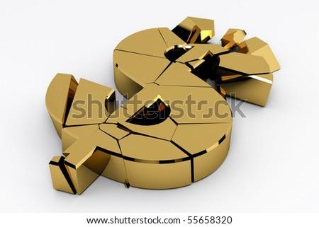 Gold dollar sign crashed on white background - stock photo