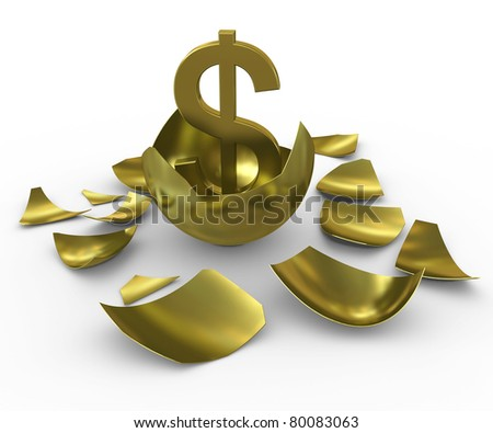 Gold dollar sign hatched from eggs of gold - stock photo