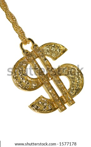 Gold Dollar Sign Necklace - stock photo