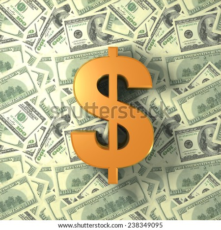 Gold dollar sign on the notes - stock photo