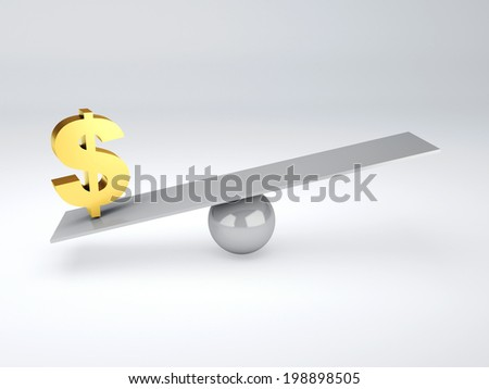 gold dollar symbol in white seesaw - stock photo