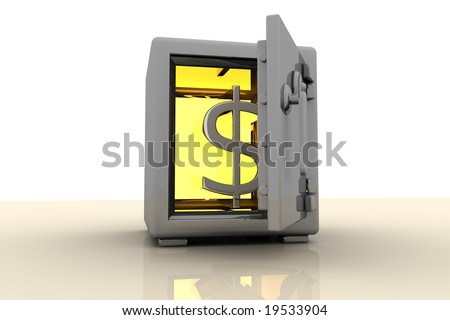 Gold Dollar Symbol Showing In A Safe