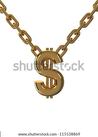Gold dollar with chain
