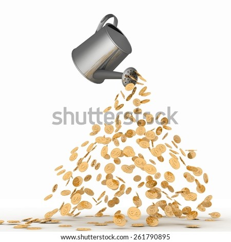 Gold dollars poured from a watering can. 3d render illustration on white. - stock photo