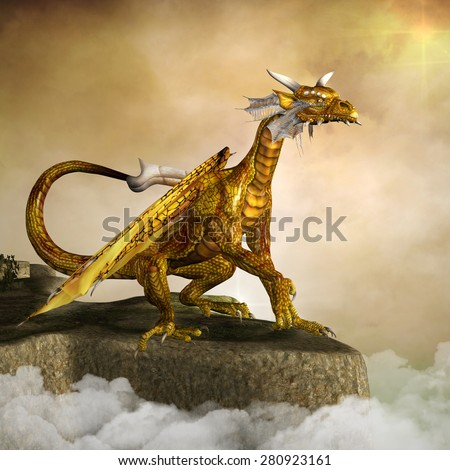 Gold dragon - stock photo