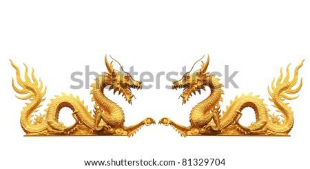 gold dragon on white background - stock photo
