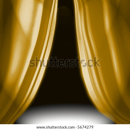 Gold drapery on empty theatre stage - stock photo