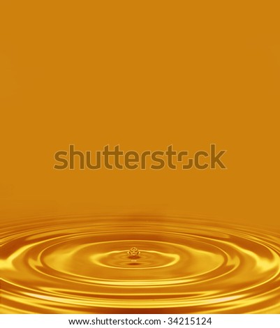 gold drop and waves background - stock photo