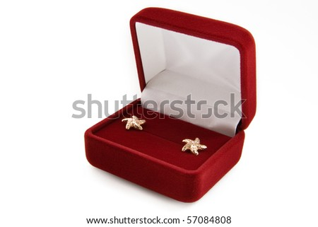Gold  earrings in a jewelry box on white background - stock photo
