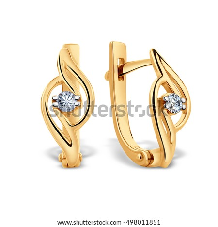 Gold earrings with diamond, 3D illustration