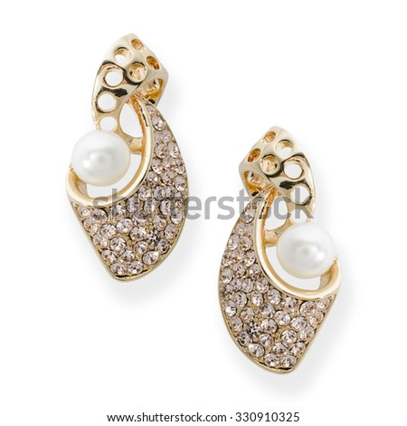 gold earrings with pearls isolated on white - stock photo