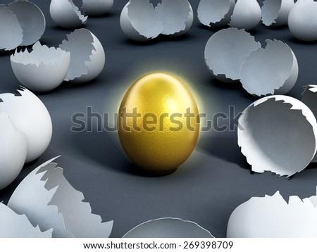 Gold egg at the center of cracked regular ones on dark background - stock photo