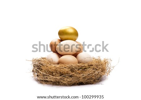 Gold egg on top of other eggs in a nest. Isolated on white. - stock photo