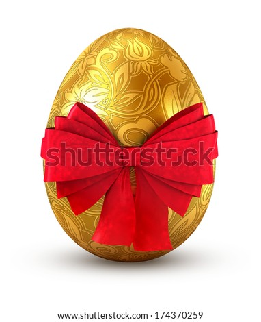 Gold egg with red bow isolated on white background. - stock photo