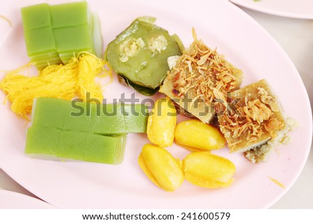 Gold egg yolks drops and Pinched gold egg yolks, ancient Thai Dessert - stock photo