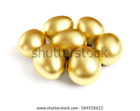 Gold eggs isolated on white background. - stock photo