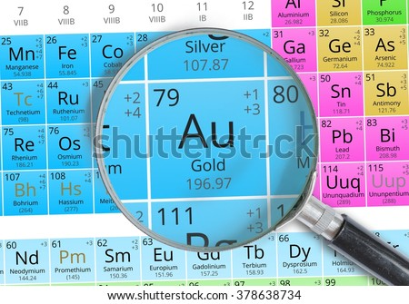 Gold element mendeleev periodic table magnified stock photo royalty gold element of mendeleev periodic table magnified with magnifying glass urtaz Images